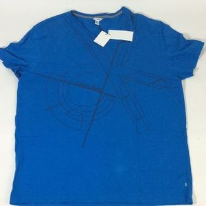 Calvin Klein Mens Blue Logo Graphic Tee Shirt